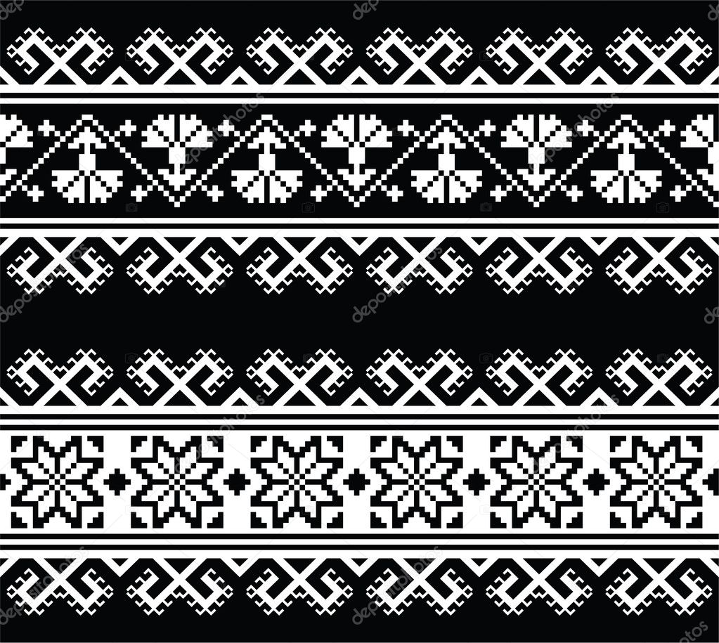 Славянские узоры черные