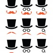 Ginger mustache or moustache with hat and glasses icons set — Stock Vector #47355709