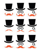 Ginger mustache or moustache with hat and glasses icons set — Stock Vector