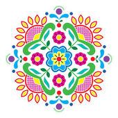 Norwegian traditional folk art Bunad pattern - Rosemaling style embroidery — Stock Vector