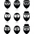 Man with beard with moustache or mustache, hipster icons set — Stock Vector