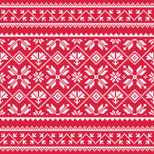 Ukrainian, Slavic folk art white embroidery pattern on red — Stock Vector