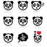 Panda bear icons set - happy, sad, angry isolated on white — Stock Vector