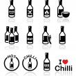 Hot chilli sauce bottle icons set — Stock Vector #47626717
