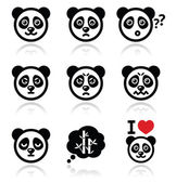 Panda bear icons set - happy, sad, angry isolated on white — Stock vektor