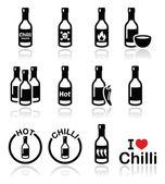 Hot chilli sauce bottle icons set — Stock Vector