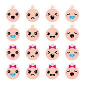 Baby boy and girl cute Kawaii icons set — Stock Vector