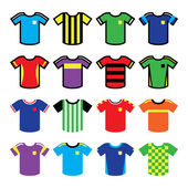 Football or soccer jerseys colorful icons set — Vector de stock
