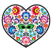 Polish folk art art heart embroidery with flowers - wzory lowickie — Stock Vector