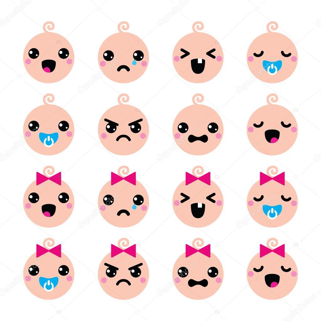 Sistema iconos bebé niño y niña cute kawaii \u2014 Vector de stock 47779723