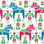 Zweedse volkskunst dala of daleclarian paard naadloze patroon — Stockvector