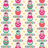 Russian doll Matryoshka folk seamless pattern — Stock Vector