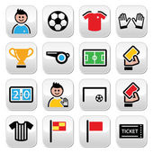 Soccer or football colorful vector icons set — Stock Vector