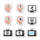 Man loving football or soccer icons set — Stock Vector