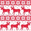 Winter red seamless pattern with reindeer — Stock Vector #48092641