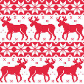 Winter red seamless pattern with reindeer — Stok Vektör