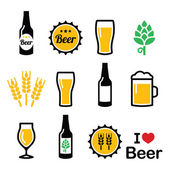 Beer colorful vector icons set - bottle, glass, pint — Stock Vector