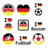 I love German football, soccer icons set — Stock Vector