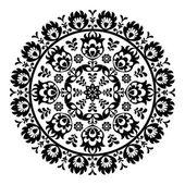 Polish folk art pattern in circle - wzory lowickie, wycinanki — Stock Vector