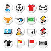 Soccer or football vector round icons set — Stock vektor