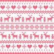 Winter, Christmas red seamless pixilated pattern with deer and hearts — Stock Vector #48166455
