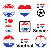 I love Dutch football, soccer icons set — Stock Vector