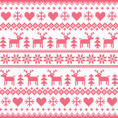 Winter, Christmas red seamless pixilated pattern with deer and hearts — Stock Vector