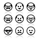 Bald man with mustache and in glasses faces icons set — Stock Vector