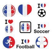 I love French football, soccer icons set — Stock Vector