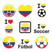 I love Colombian football, soccer icons set — Vector de stock