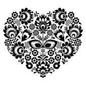 Polish folk art heart pattern in black - wzory lowickie, wycinanka — Stock Vector