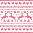 Winter, Christmas red seamless pixelated pattern with deer and hearts — Stock Vector #48609349