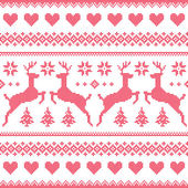 Winter, Christmas red seamless pixelated pattern with deer and hearts — Stock Vector