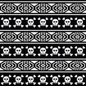Tribal Aztec seamless pattern with skull on black — Stock Vector