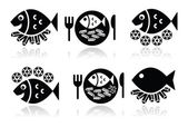Fish and chips vector icons set — Stock Vector