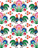 Seamless Polish folk art pattern with roosters - Wzory Lowickie, wycinanka — Stock Vector