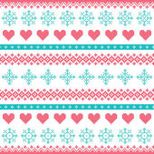 Winter, Christmas seamless pixelated pattern with snowflakes and hearts — Stock Vector