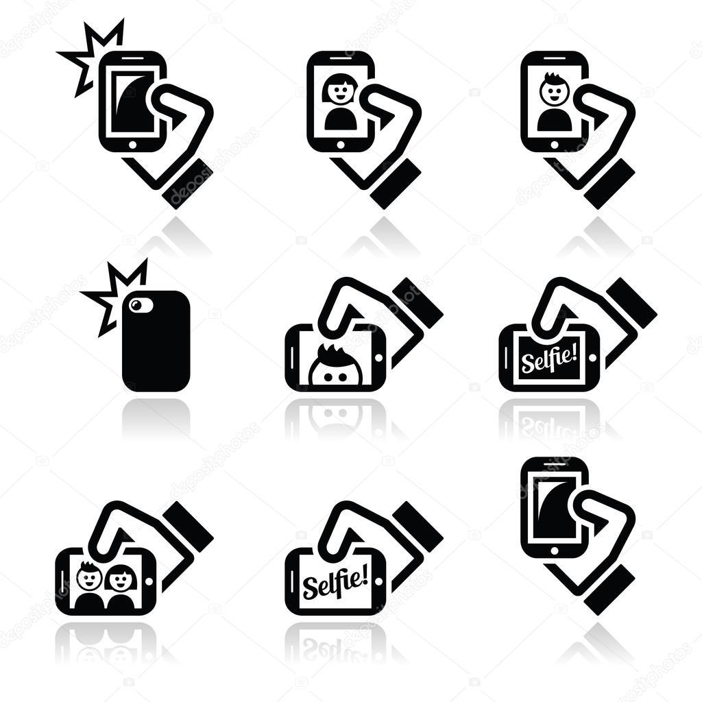 拍照用智能手机社会媒体图标集