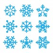 Snowflakes blue vector icons set — Stock Vector