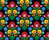 Seamless Polish folk art floral pattern - wzory lowickie, wycinanki — Stock Vector