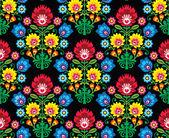 Seamless Polish folk art floral pattern - wzory lowickie, wycinanki — Stock Vector