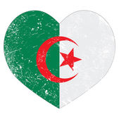 Algeria retro heart shaped flag — Stock Vector