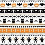 Halloween seamless pattern - pumpkin, ghost, voodoo doll — Stock Vector