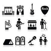 Music festival, live concert vector icons set — Stock vektor