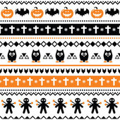 Halloween seamless pattern - pumpkin, ghost, voodoo doll — Stock Vector