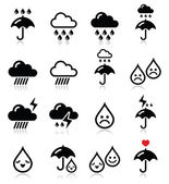Rain, thunderstorm, heavy clouds  vector icons set — Stock Vector