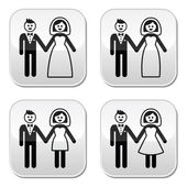 Wedding, married couple, bride and groom icons set — Stok Vektör