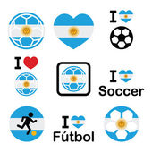 I love Argentine football, soccer icons set — Stock Vector
