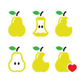 Pear, pear core, bitten, half vector icons — Stock Vector