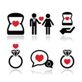 Engagement, diamond ring in box vector icons set — Stok Vektör